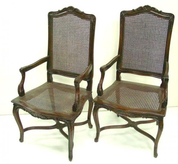 604: Pair French Provincial arm chairs
