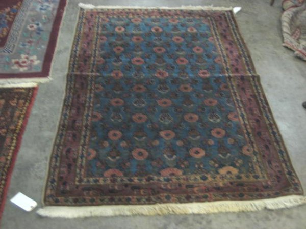 1: Antique blue rug possibly Lilihan