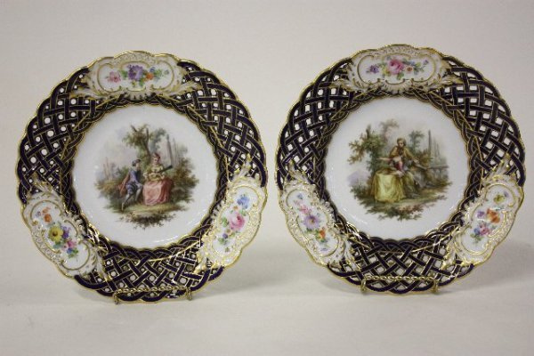 316: Pair open reticulated Meissen plates
