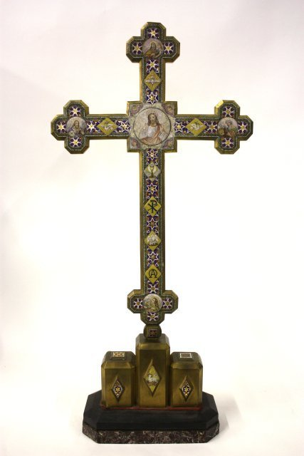 317: Early 19th c. micromosaic cross