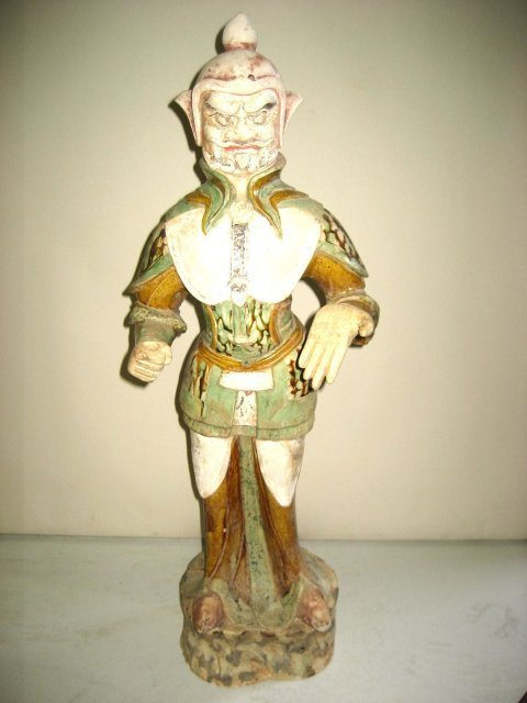 744: Chinese Sancai pottery figure of Tomb Guardian