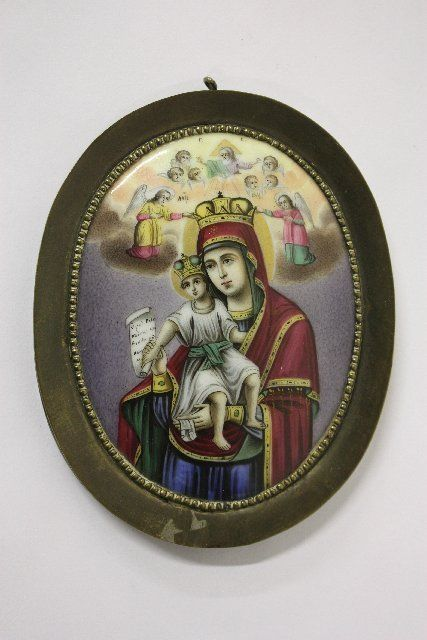 1001: 19th c. Russian handpainted porcelain icon