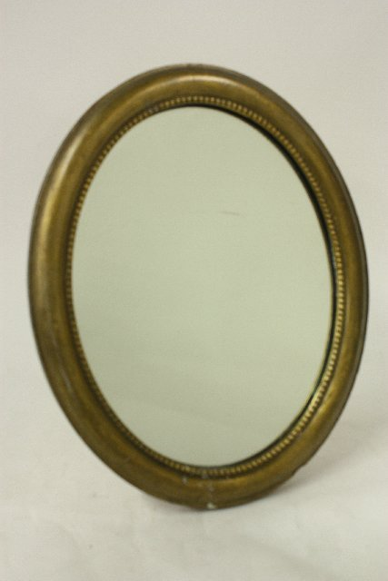11: Standing wood oval table mirror