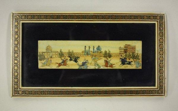 12: Gilt framed handpainted Indian ivory plaque