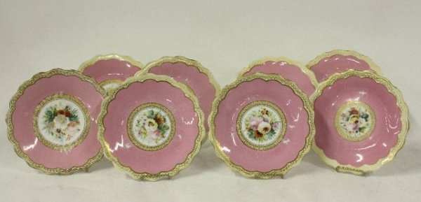 13: 8 19th c. English floral painted plates