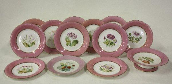 14: 19th c. floral design serving plate & 12 plates