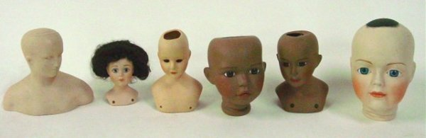 17: Lot of 6 bisque doll heads