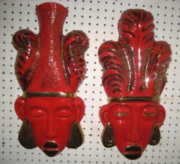 "24: Pair mid century porcelain ""Mask"" wall mounts"