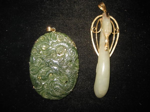 551: Carved Jade pendant & carved Jade drop Pendant