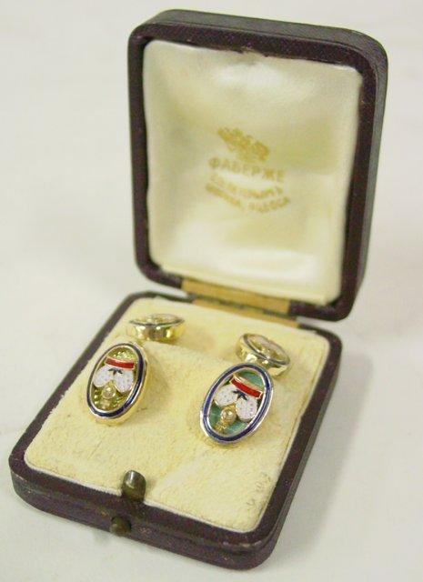 566: Russian gold & enamel cufflink