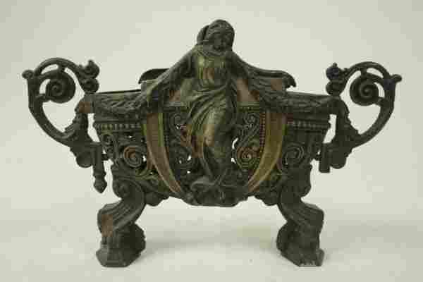 685: Art Nouveau figural bronze jardiniere