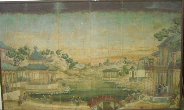 """789: 18th c. Chinese painting """"Village by the Lake"""""""