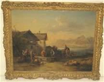 793: 19th c. gilt framed oil painting on canvas