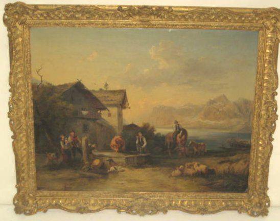 19th c. gilt framed oil painting on canvas