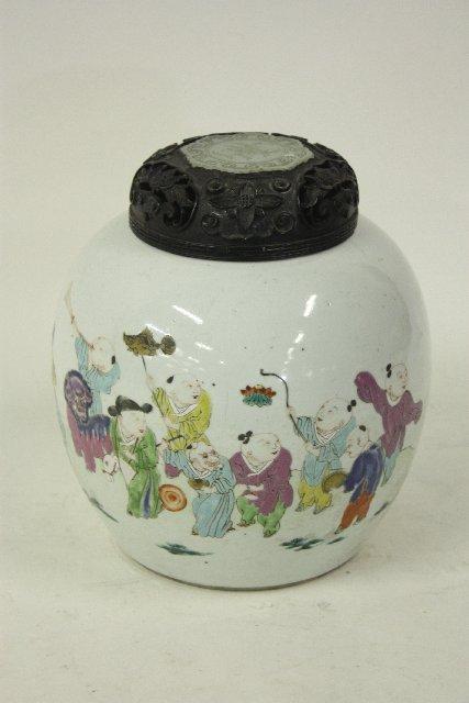 1157: Porcelain vase with celadon carved jade top