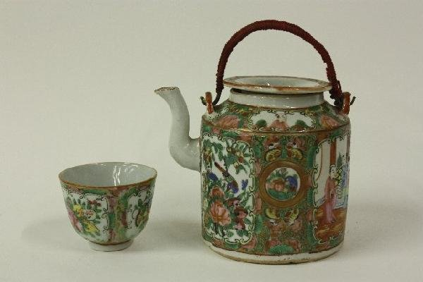 11: Chinese Rose Medallion teapot in basket