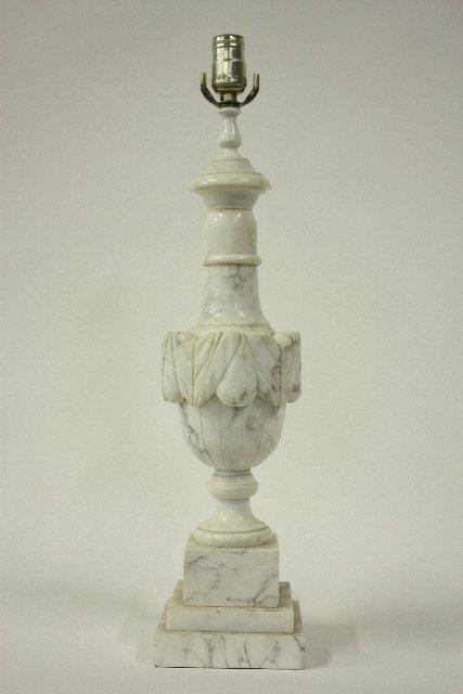 """21: Alabaster carved """"urn"""" shaped lamp"""
