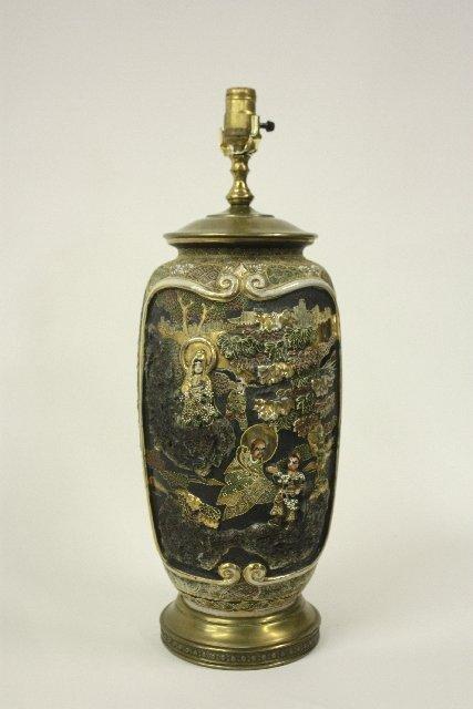 23: Satsuma vase mounted as lamp
