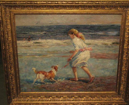 """oil painting on canvas """"Girl Playing with Dog"""