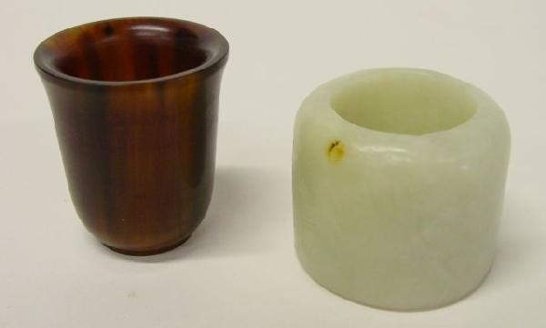 273: Jade archery ring & Rhinoceros horn cup