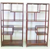 331 Pair Chinese rosewood etageres