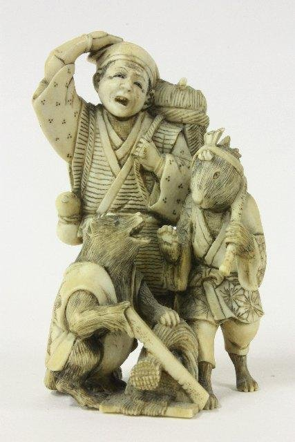 "584: Netsuke ""Man & Two Animals"""