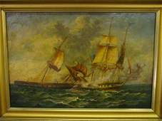 837 Oil painting on board signed JG Schetky