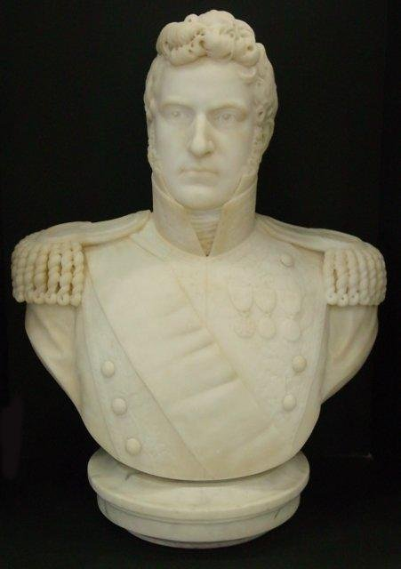"878: 19th c. Marble bust of ""Important Military Figure"""