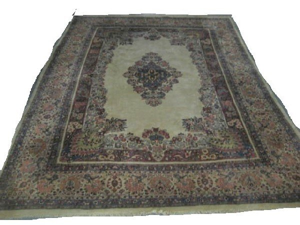 1A: Ivory background handmade Sarouk rug