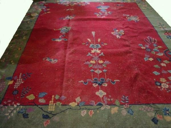 3: Green & red Art Deco Chinese rug