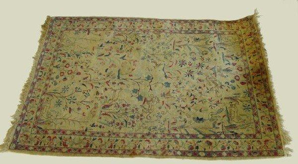 7: Antique ivory Tabriz scatter rug