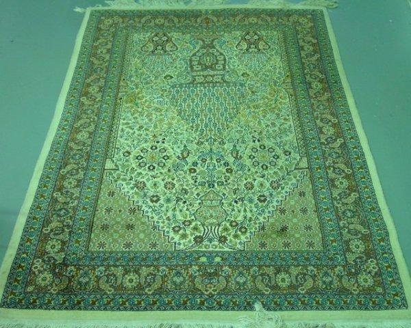 8: Mid-late 20th c. Ivory silk & wool handmade carpet