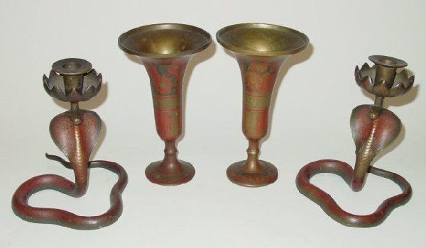 11: Pair candlesticks & pair brass vases