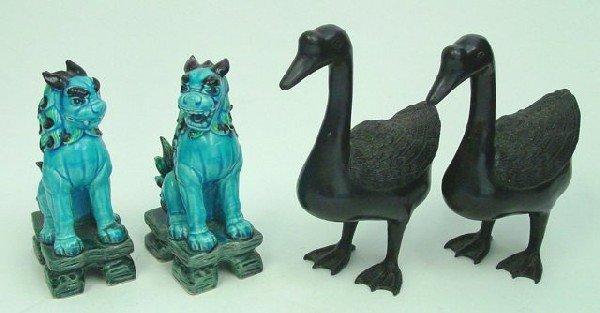 17: Pair foo dogs & pair bronze ducks