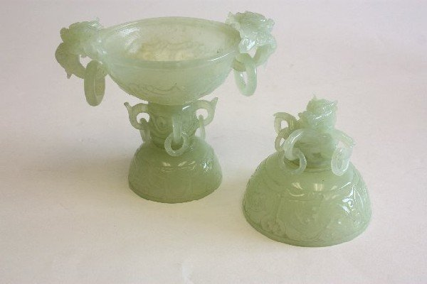 73: Two carved Jade covered pieces on stands - 3