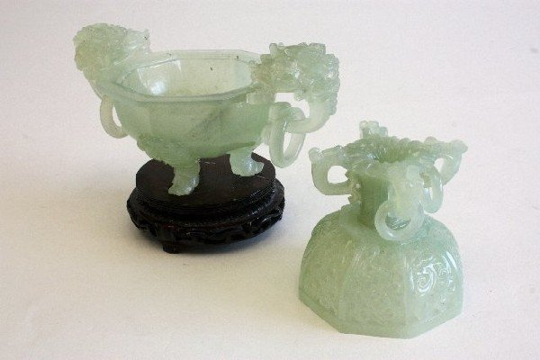 73: Two carved Jade covered pieces on stands - 5
