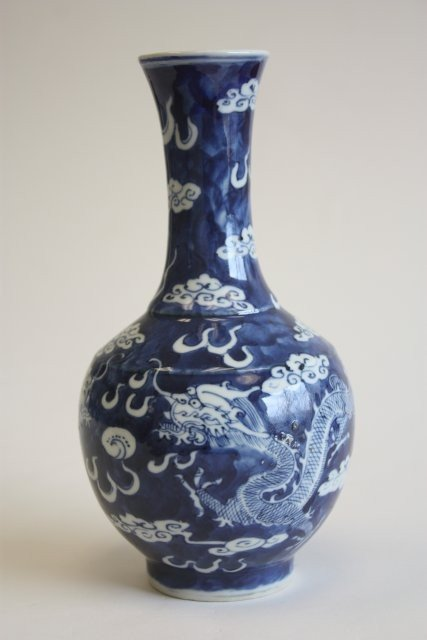 "421: Blue & white porcelain vase depicting ""Dragon"""