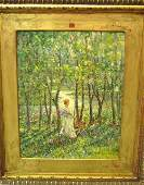 838: American oil painting signed F. Luis Mora