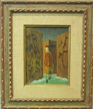 """842: Oil painting on board attributed R. Varo"""""""