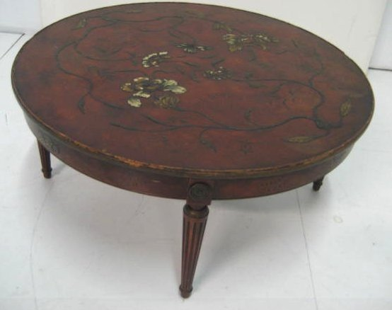 Round Oriental style Chinoiserie coffee table