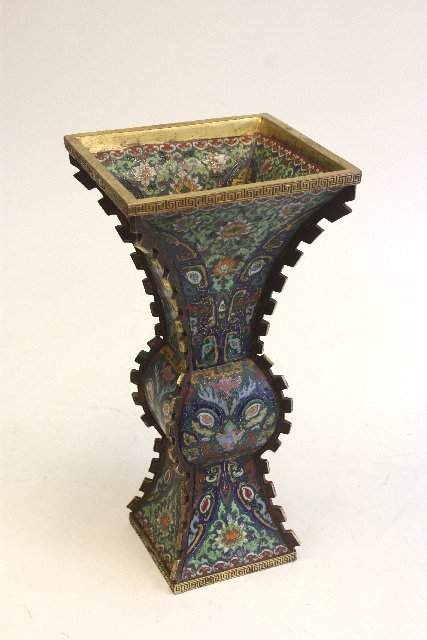 317: Very fine cloisonne & enamel vase