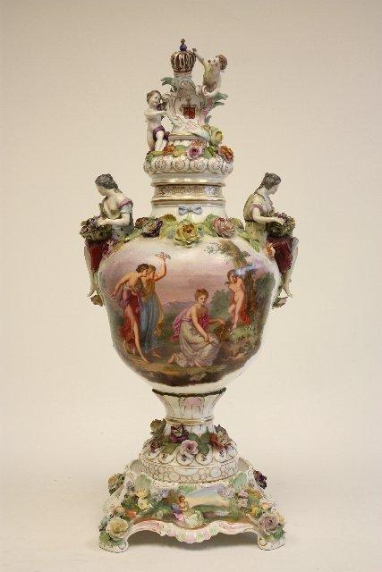 615: Handpainted Dresden covered urn
