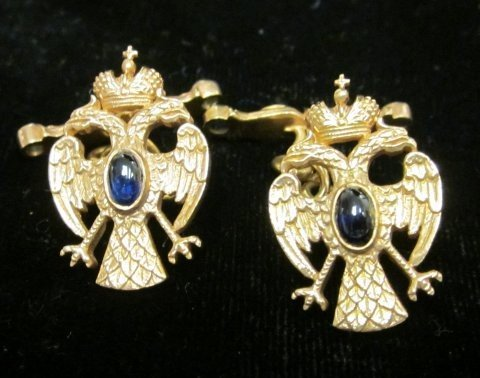 500A: Gold Faberge style Eagle cufflinks