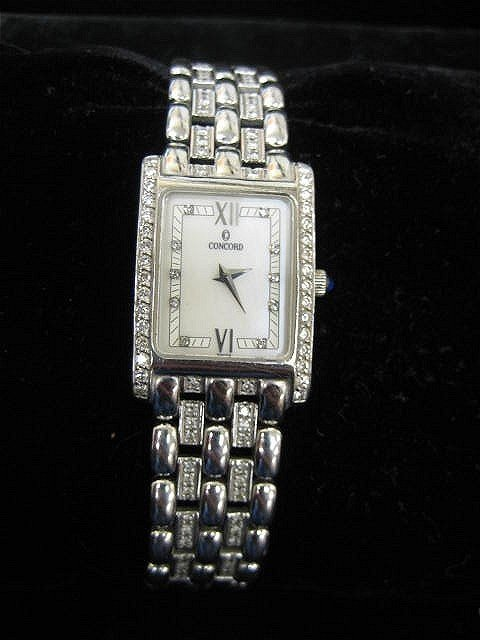 502: 14kt white gold & diamond watch by Concorde