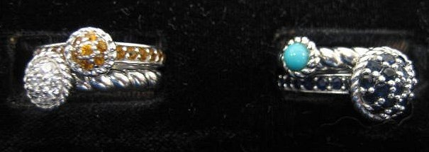 509: Judith Ripka sterling silver group lot of 4 rings