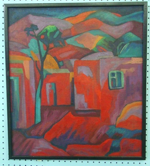 "812: Oil on canvas ""House with Mountains"""