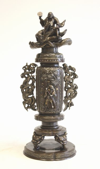 948: Japanese mixed metal bronze covered urn