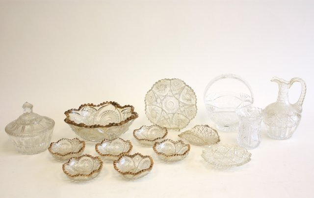 1A: Group lot of pressed glass & crystal