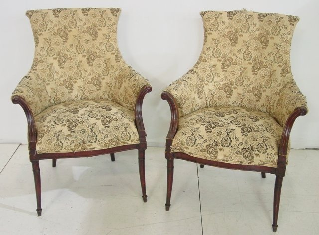 2A: Pair Regency style mahogany fireside chairs