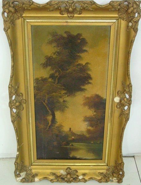 """3: Gilt framed painting """"Landscape"""""""